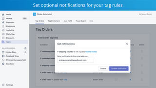 get order notifications based on conditions