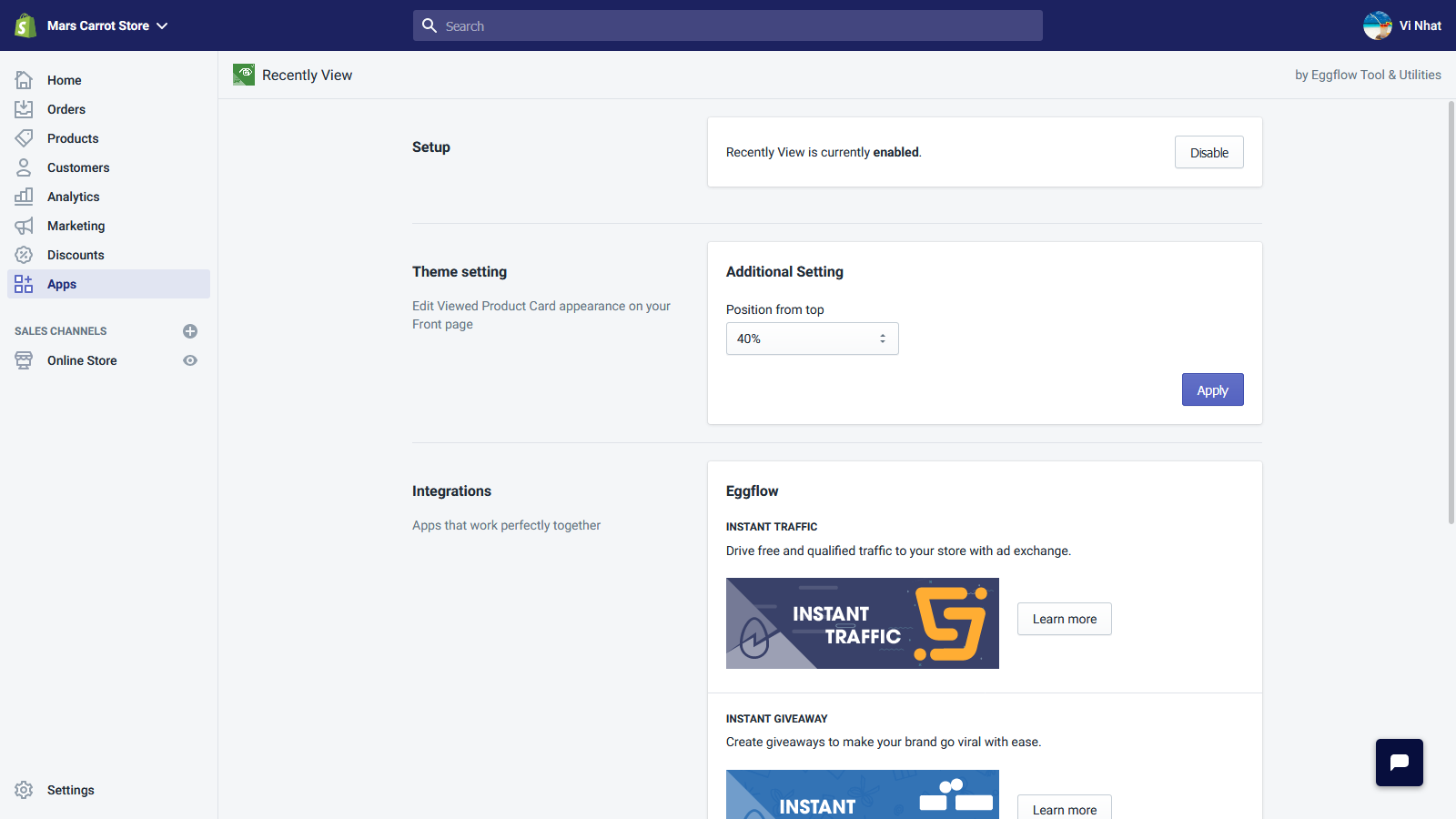 Recently Viewed Items - Dashboard