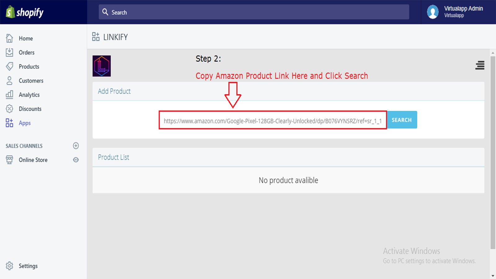 Paste the Amazon product URL on Linkify Dashboard