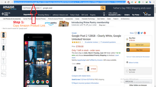 Step1: copy the product URL from Amazon Website
