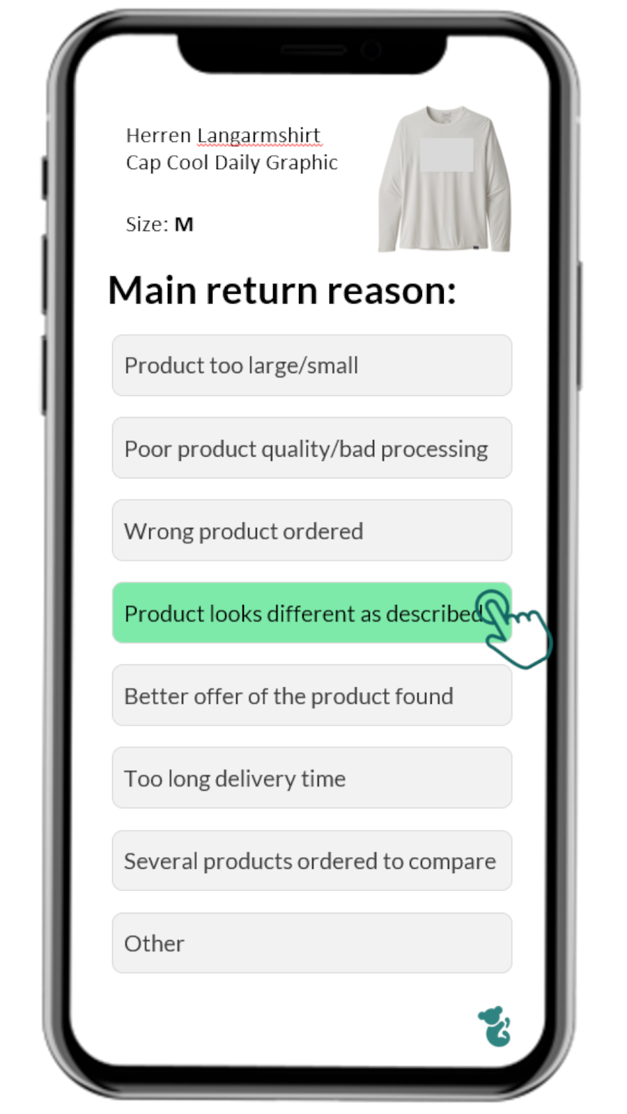 Return questions in the app - Give the main reason