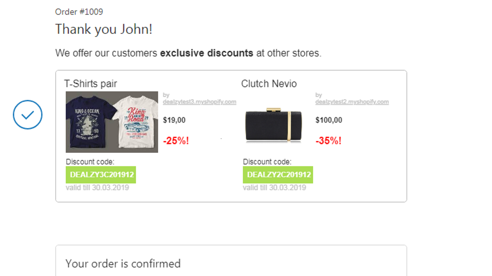 Complementary offers displayed after checkout