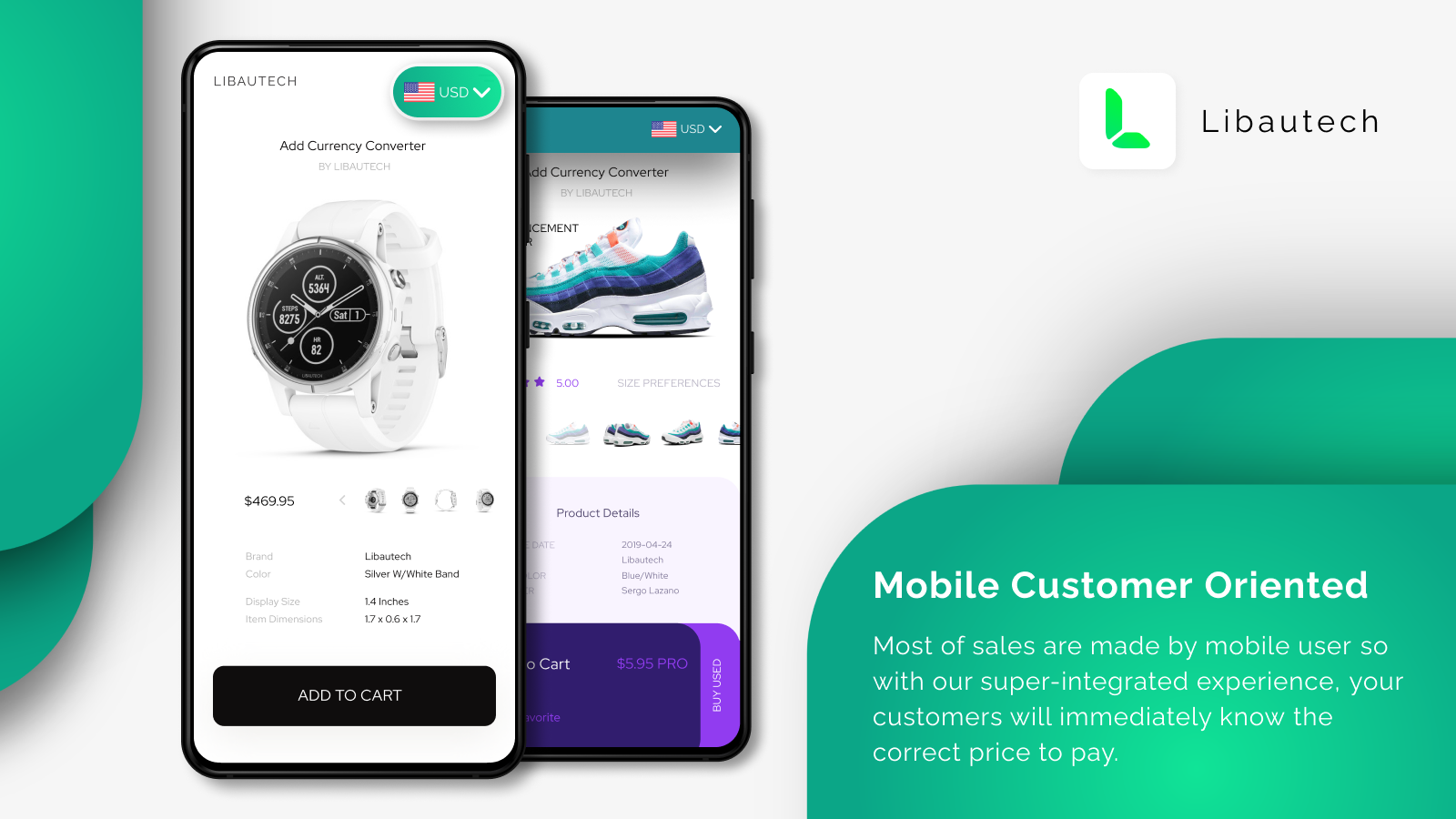 Mobile customer oriented currency converter