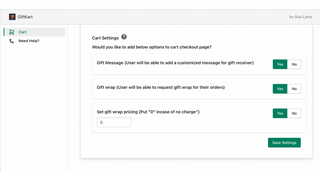 App setup to include gift wrap and message at checkout
