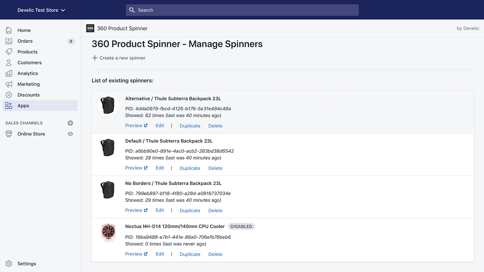 360 Product Spinner, Admin Demo B