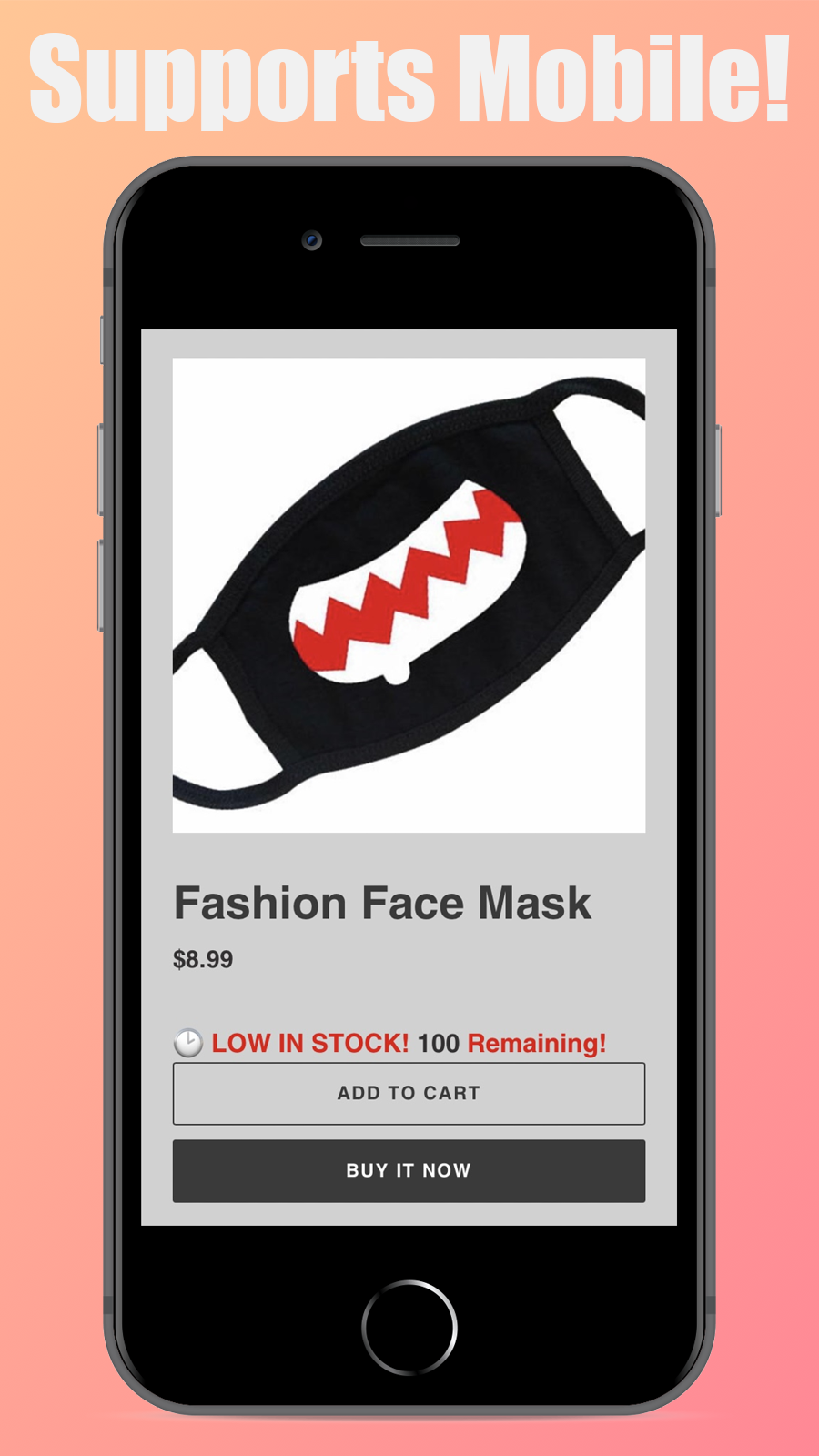 The app in action in a mobile version of a store