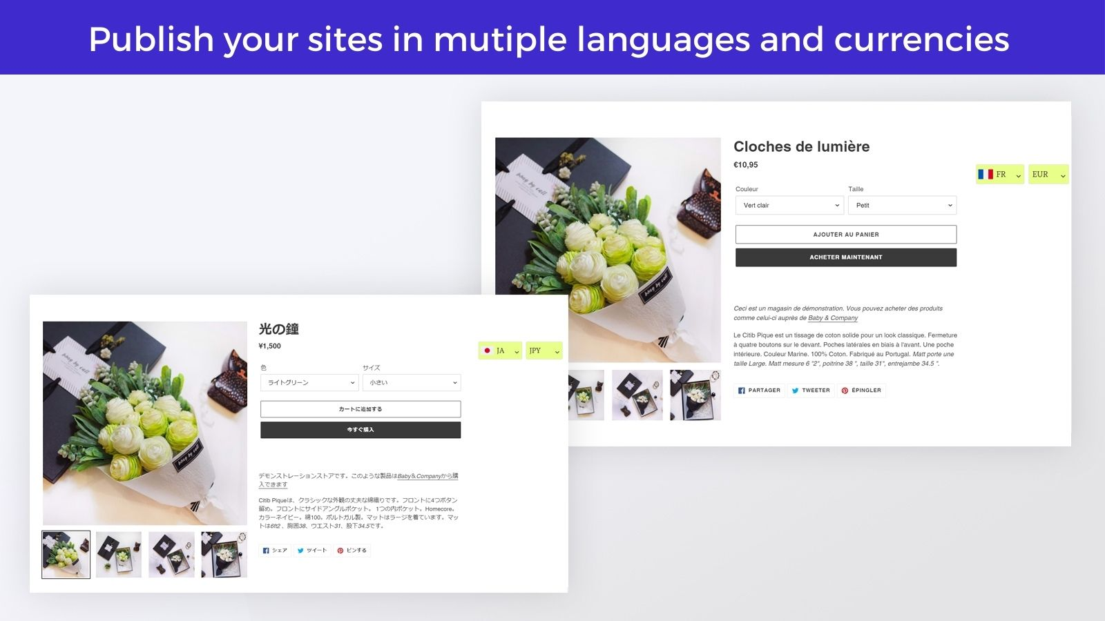 publish shopify store in multiple languages and currency