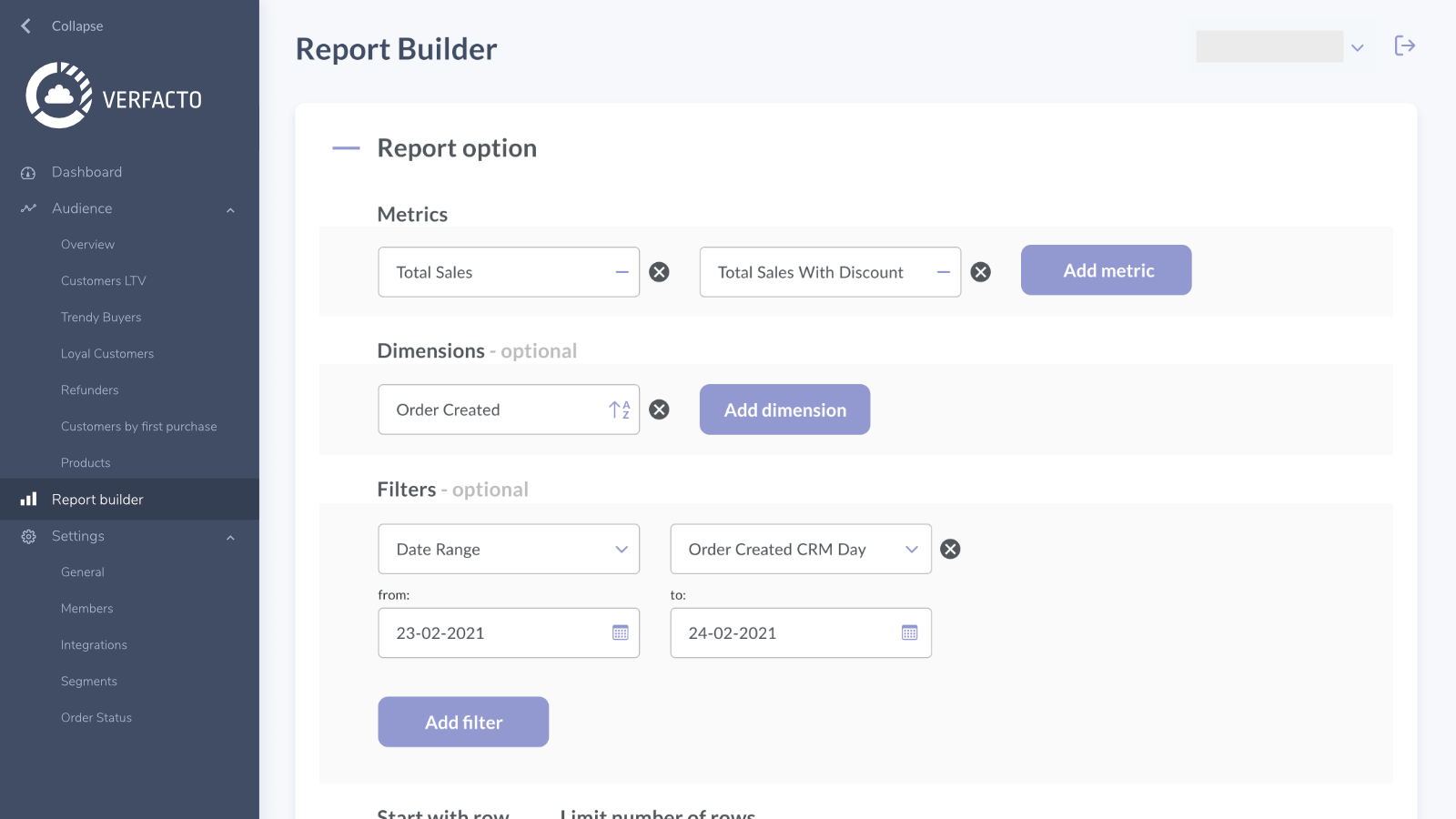 The Report Builder allows to create custom reports