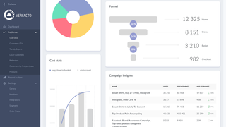 Audience overview with Sales funnel, Cart stats, and Campaigns