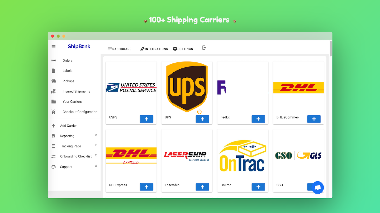 ShipBlink supports all EasyPost Shipping Carriers