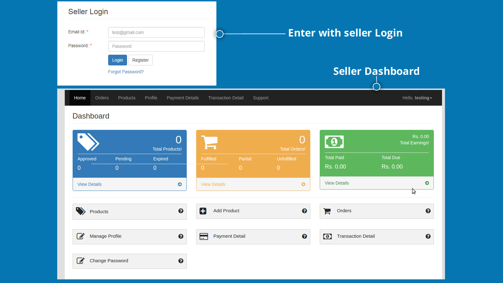 Separate login screen and seller panel for sellers