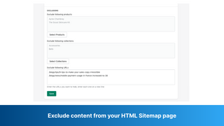 Exclude content from your HTML Sitemap page