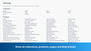 Show all collections, products, pages and blog articles