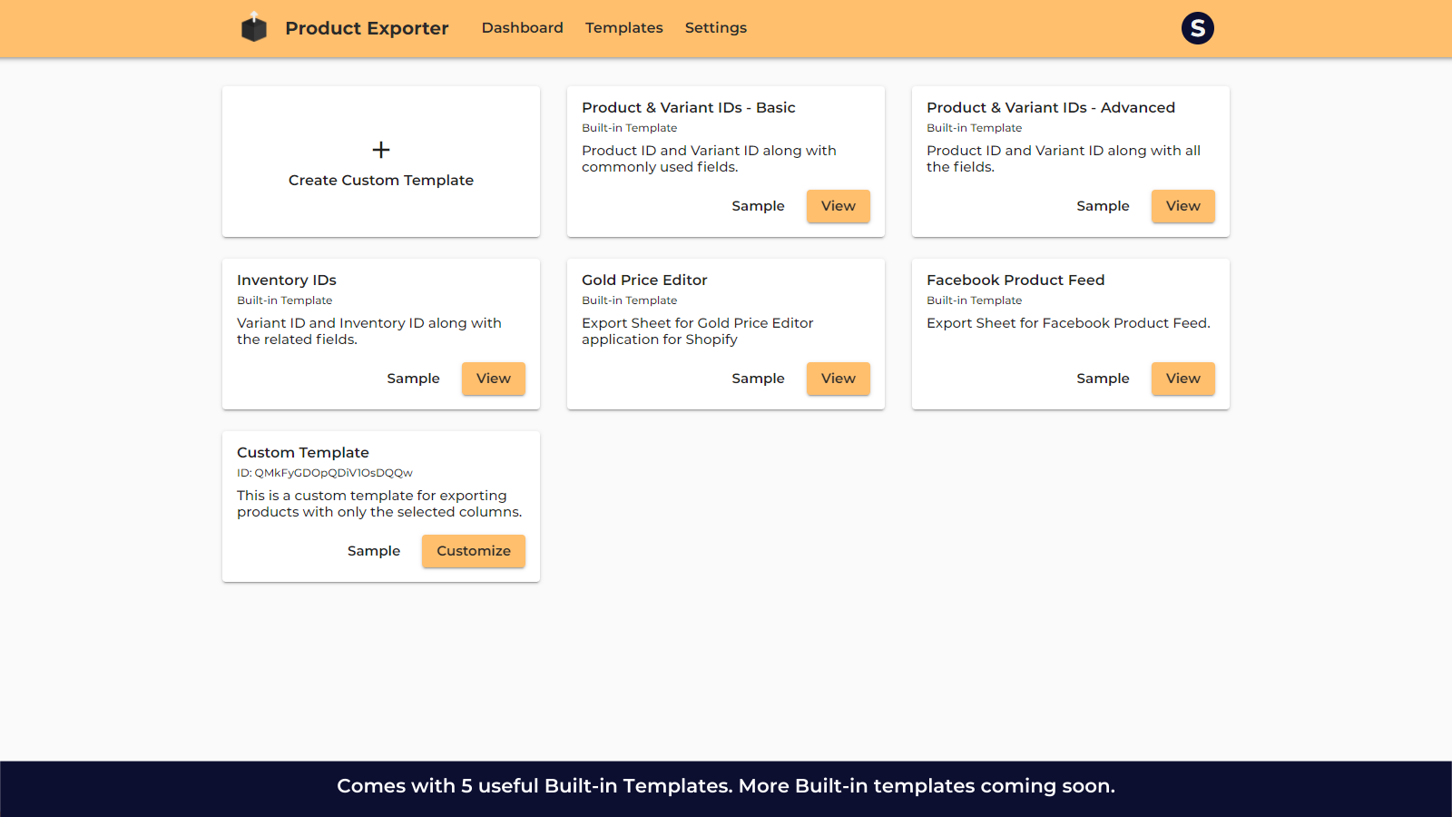 Built-in Templates for Exporting Products.