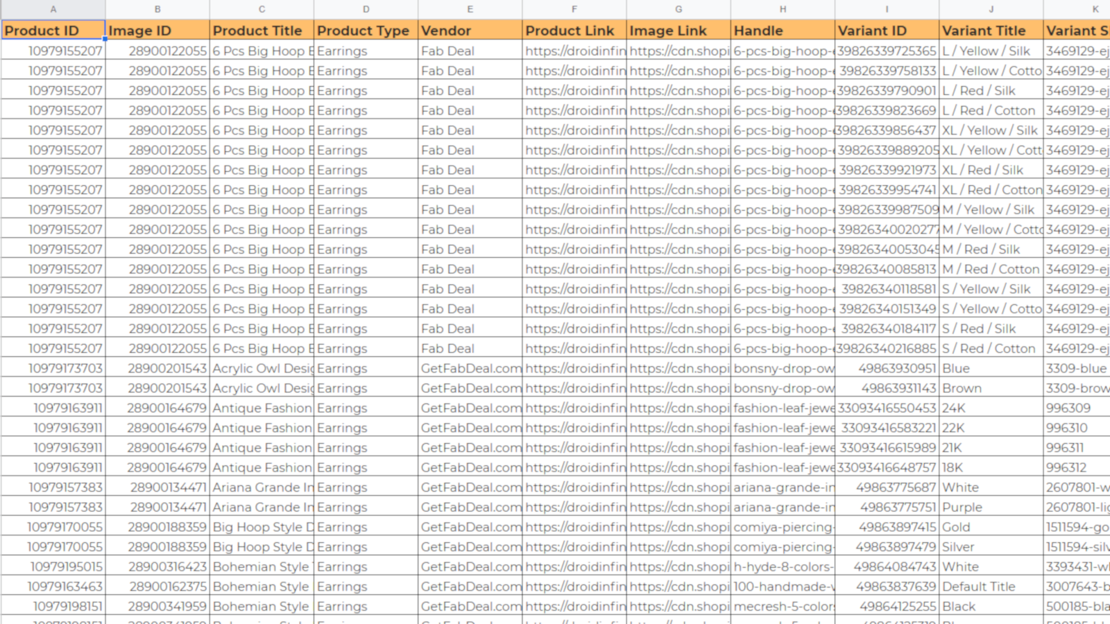 Exported Excel Sheet of Store Products with IDs