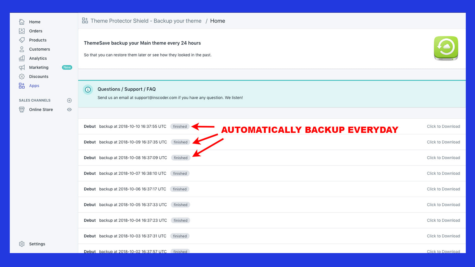 Shopify backup - One click to download the backup