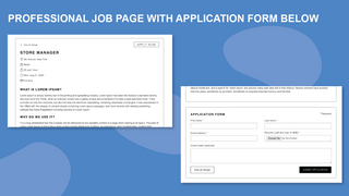 Professional job page with application form below
