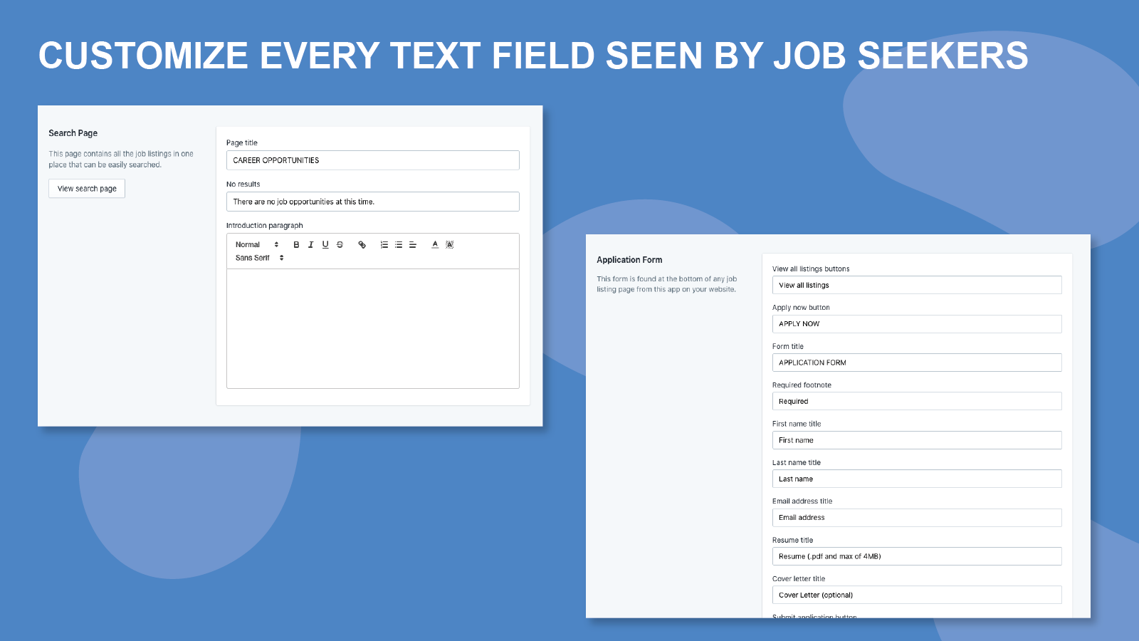 Customize every text field
