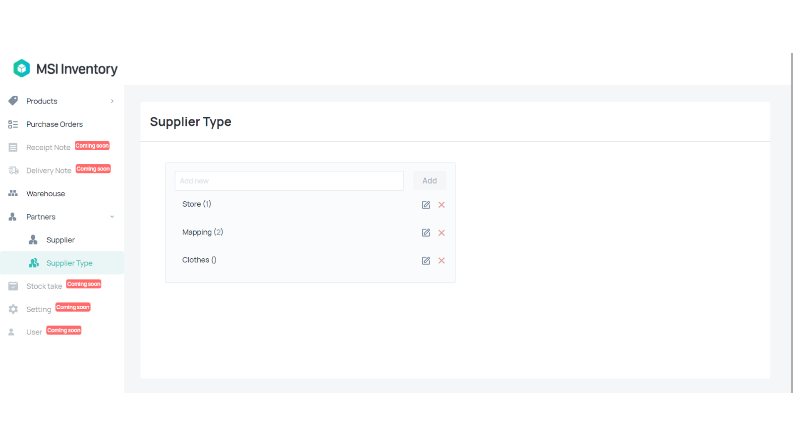 Manage supplier types