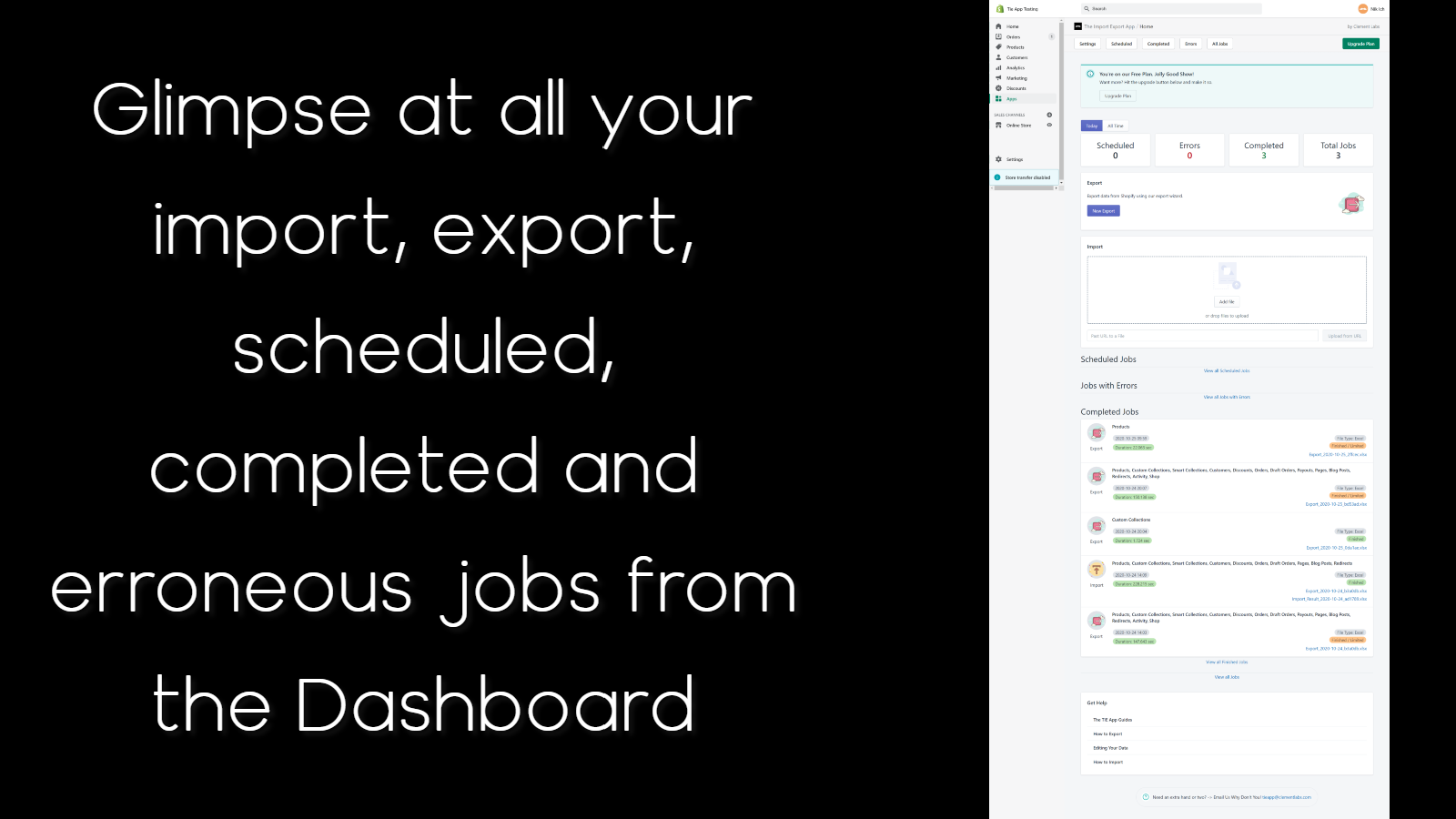 Import and Export Dashboard. View jobs and schedules.