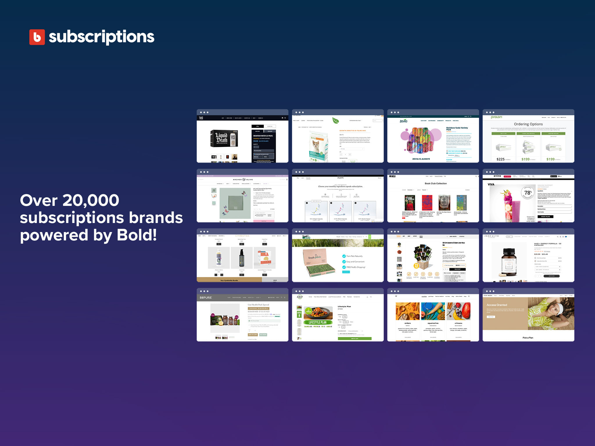 Over 20,000 subscriptions brands powered by Bold!