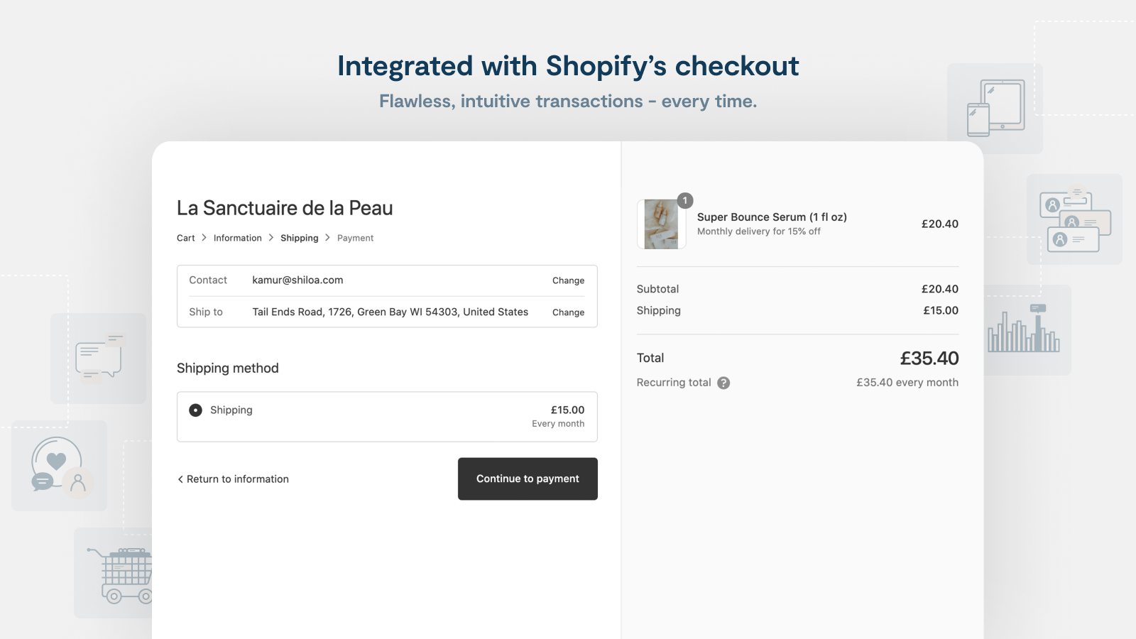 Subscription being purchased within Shopify's native checkout.