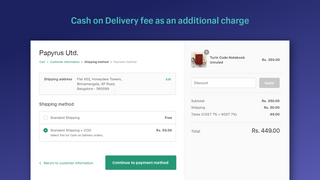 Cash on Delivery fee as an additional charge