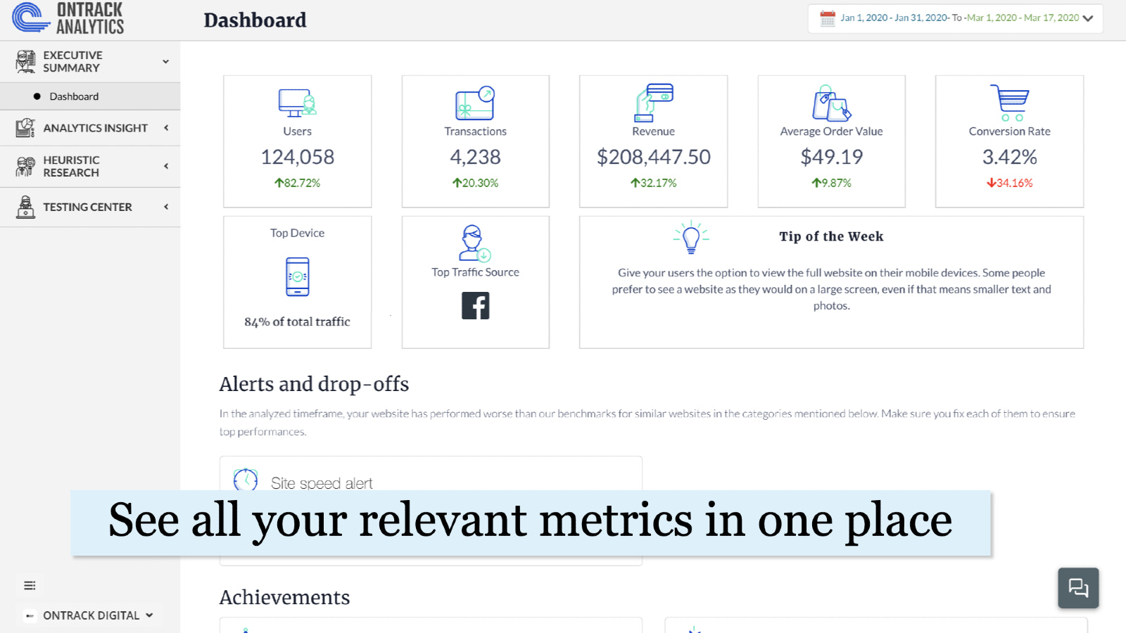Dashboard - all your analytics in one place