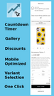 Countdown Timer, Gallery, Discounts, Mobile Optimized, One Click