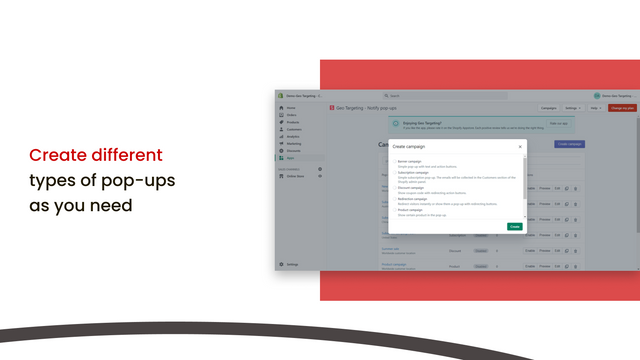 Create different types of pop-ups as you need
