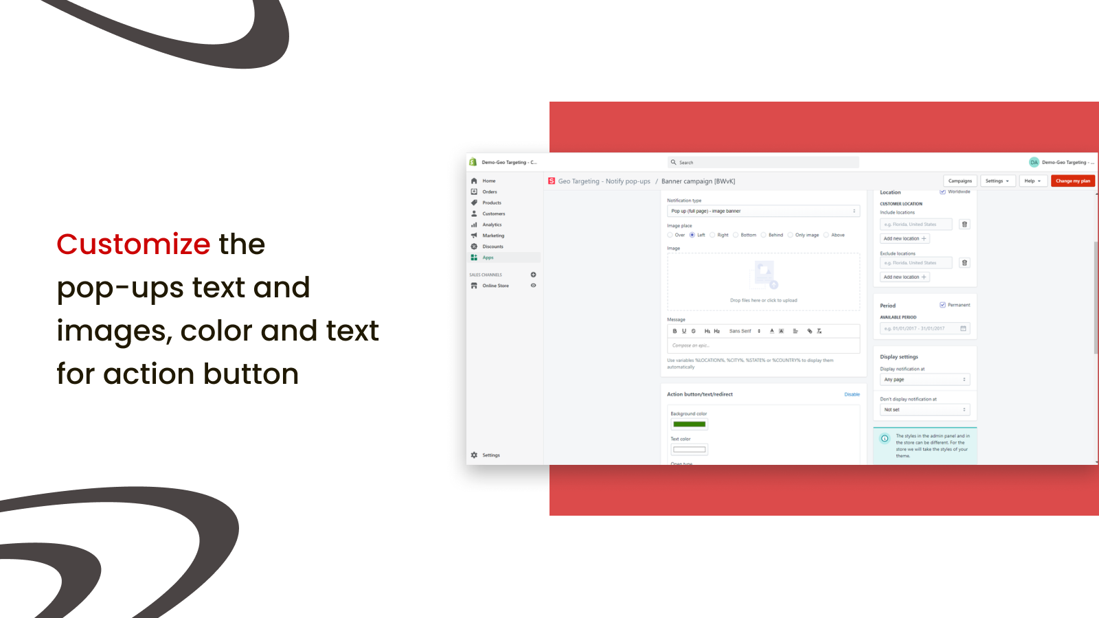 Customize the pop-ups text and images, color and text for action