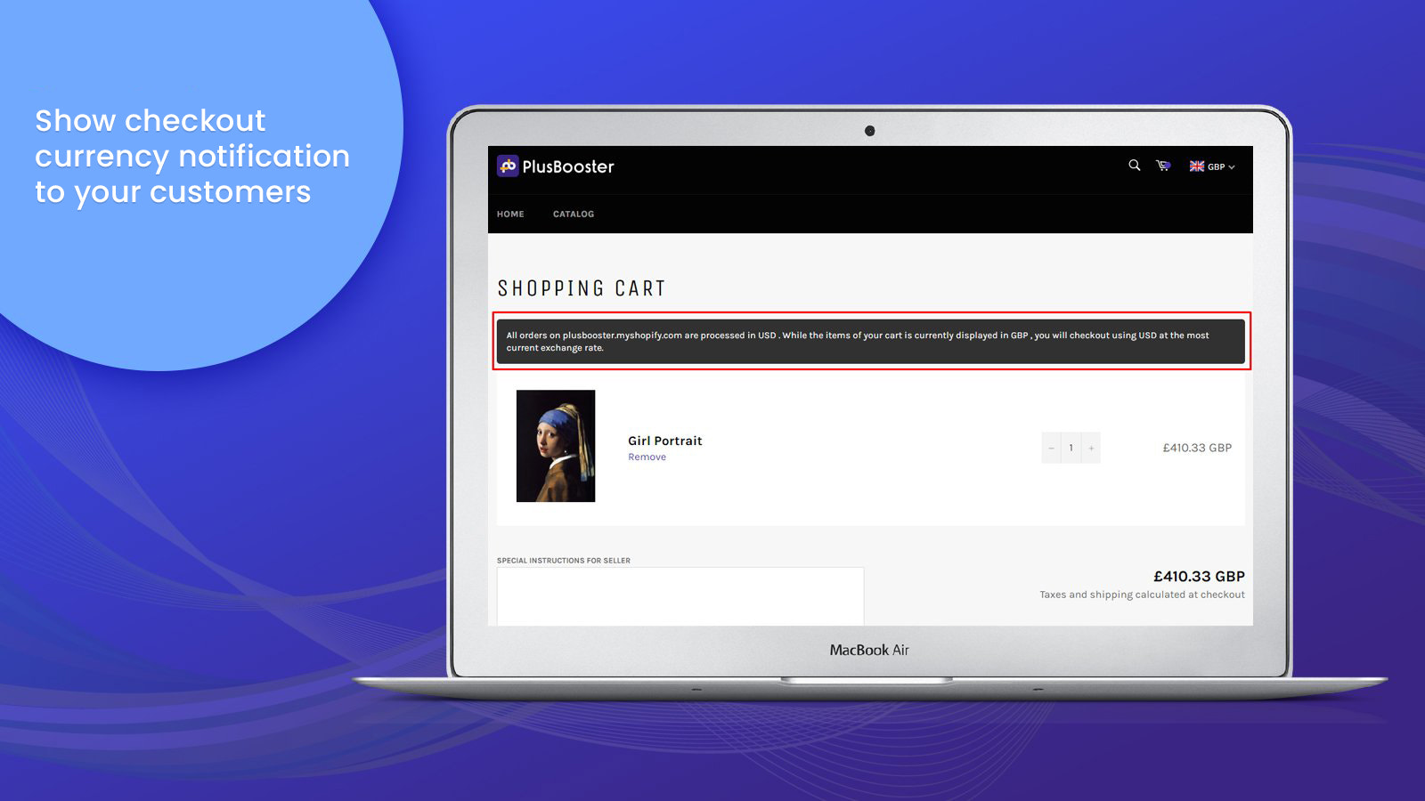 Cart page with custom message for checkout page