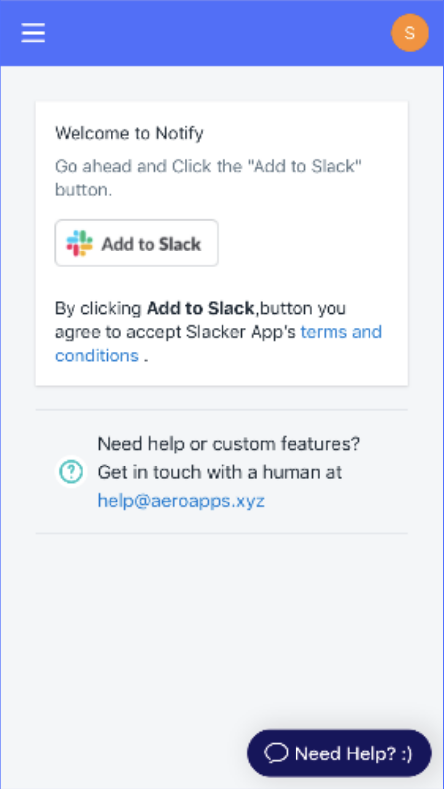 Shopify Slack connect or integration page on mobile view