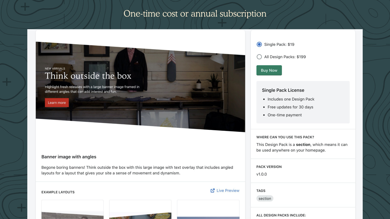 One time cost or annual subscription
