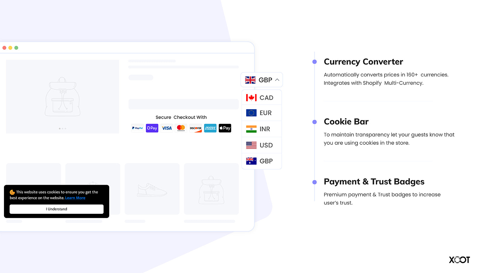 Currency Converter, Payment Badges & Cookie Bar