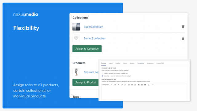Product tabs with customizable look and feel