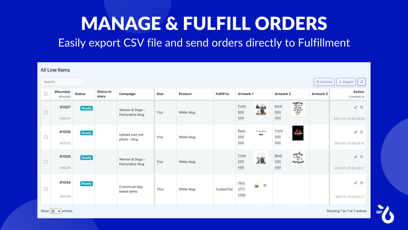 Manage personalized order items Teeinblue - Product Personalizer