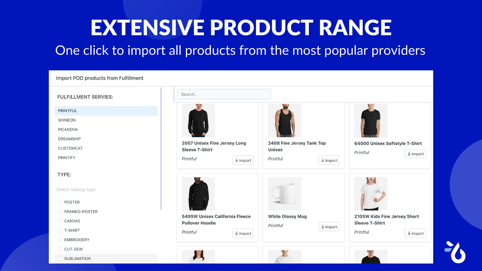 Import catalog from POD providers Teeinblue Product Personalizer