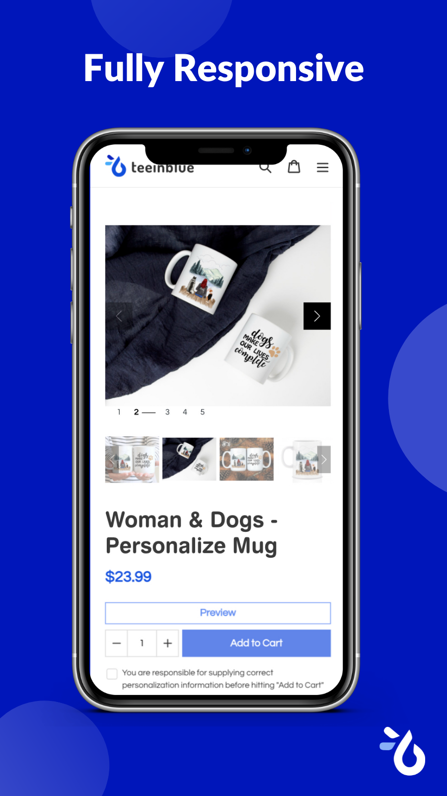 Personalize product on mobile Teeinblue - Product Personalizer