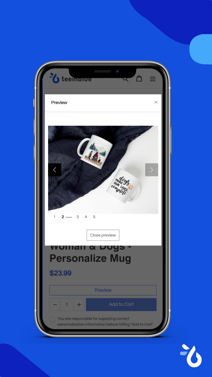 Preview personalization Teeinblue - Product Personalizer