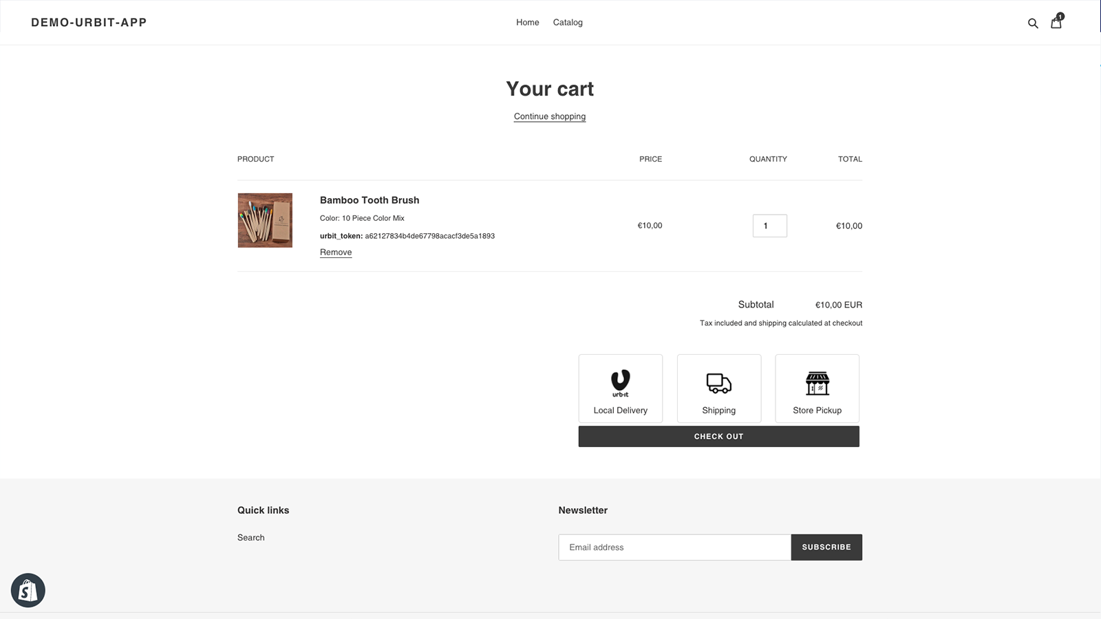 display on cart page