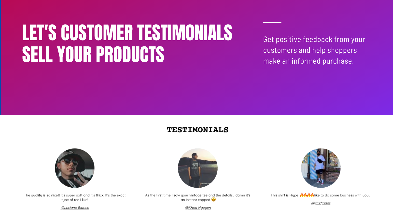 Testimonial Slider - Let's customer review sell your products