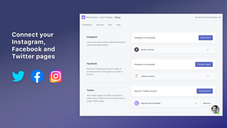 Connect Facebook, Twitter, Instagram & Pinterest coming soon