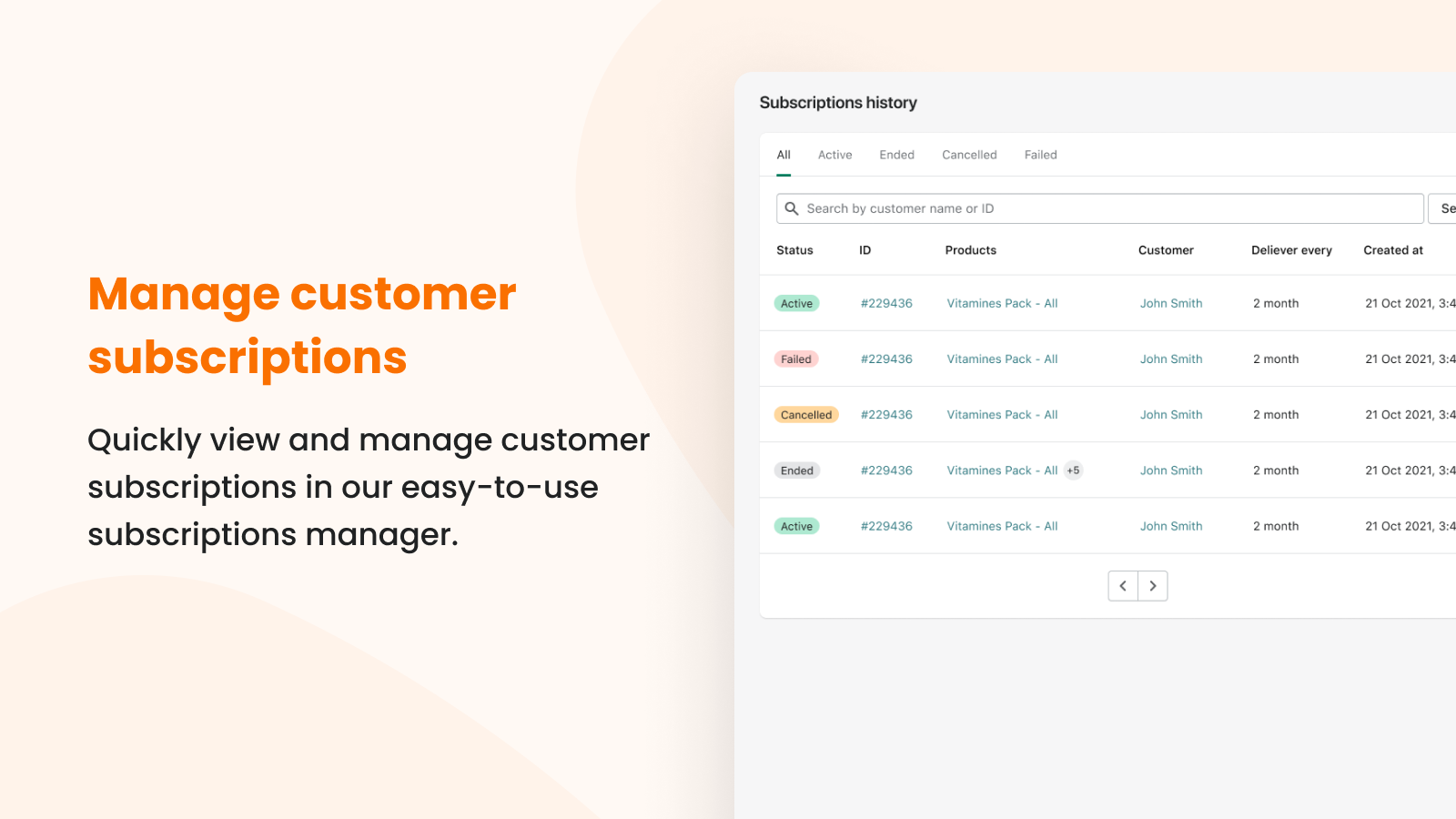 Subscriptions manager