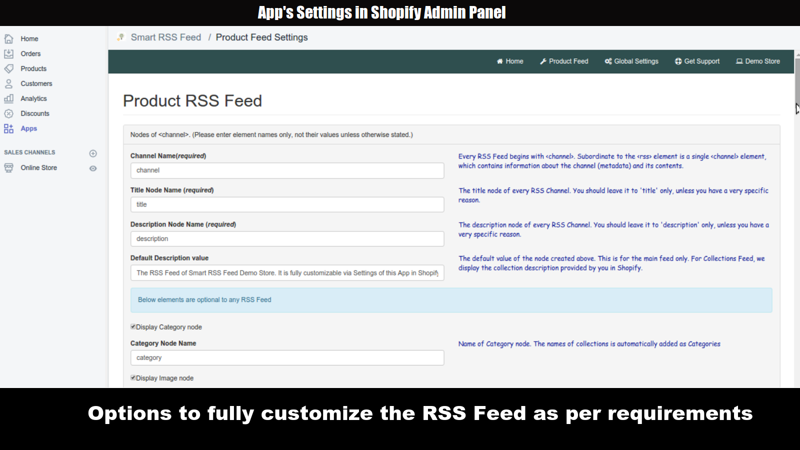 Configuration Options for Smart RSS Feed