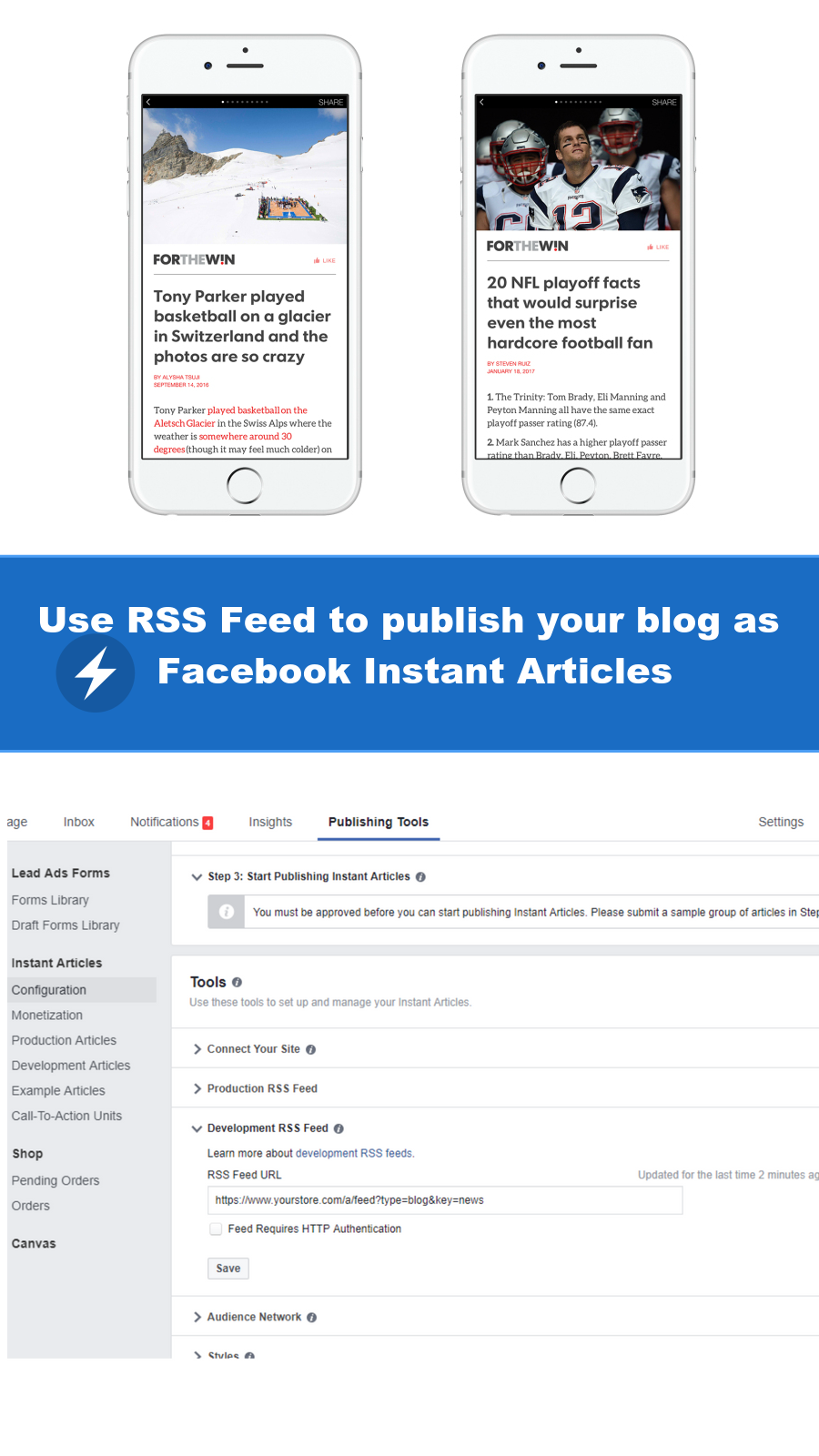 Use RSS Feed to publish your blog as Facebook Instant Articles