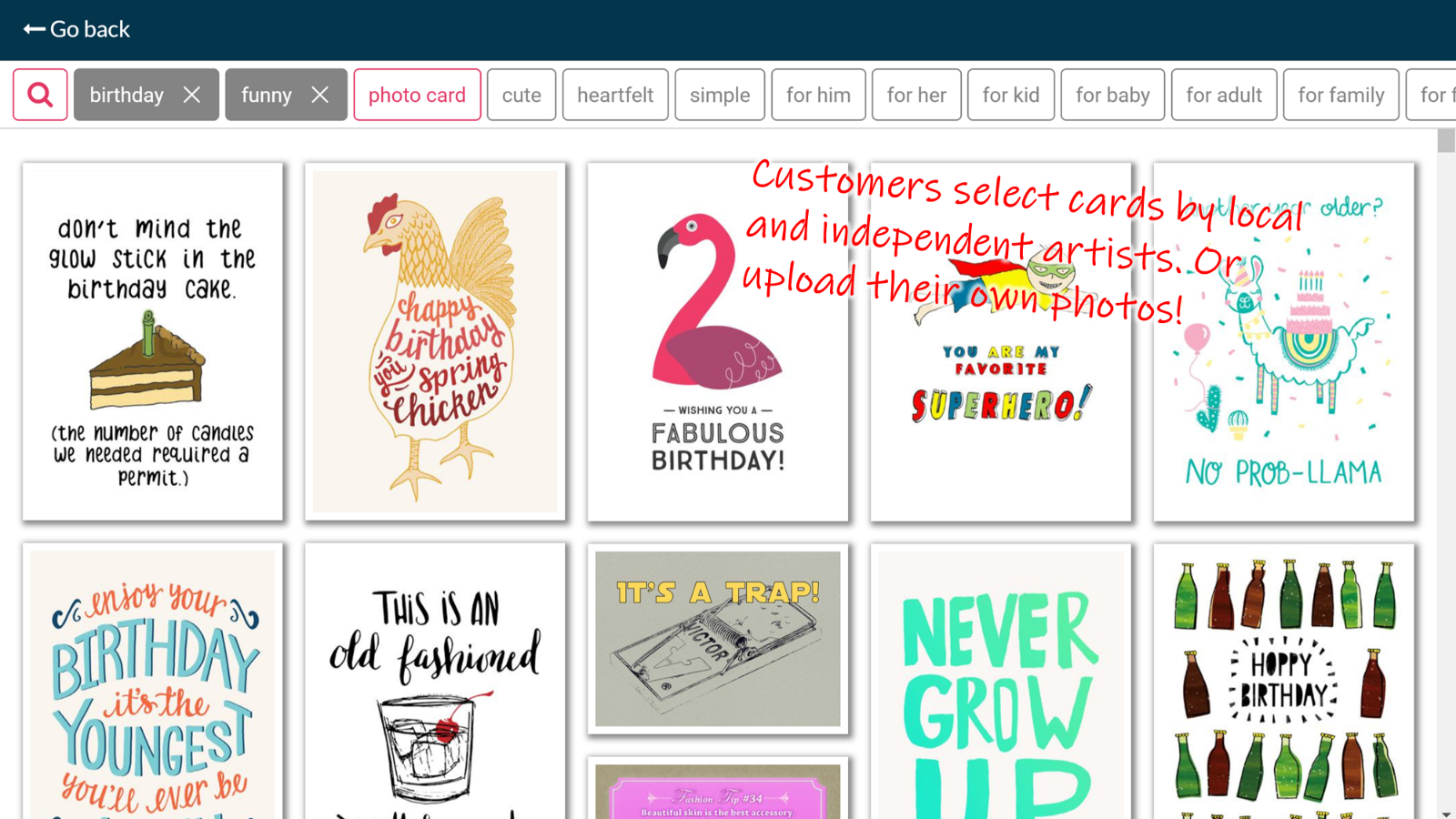 Customers select curated cards or upload their own