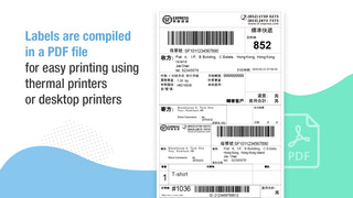 Labels are compiled in a PDF file for easy printing