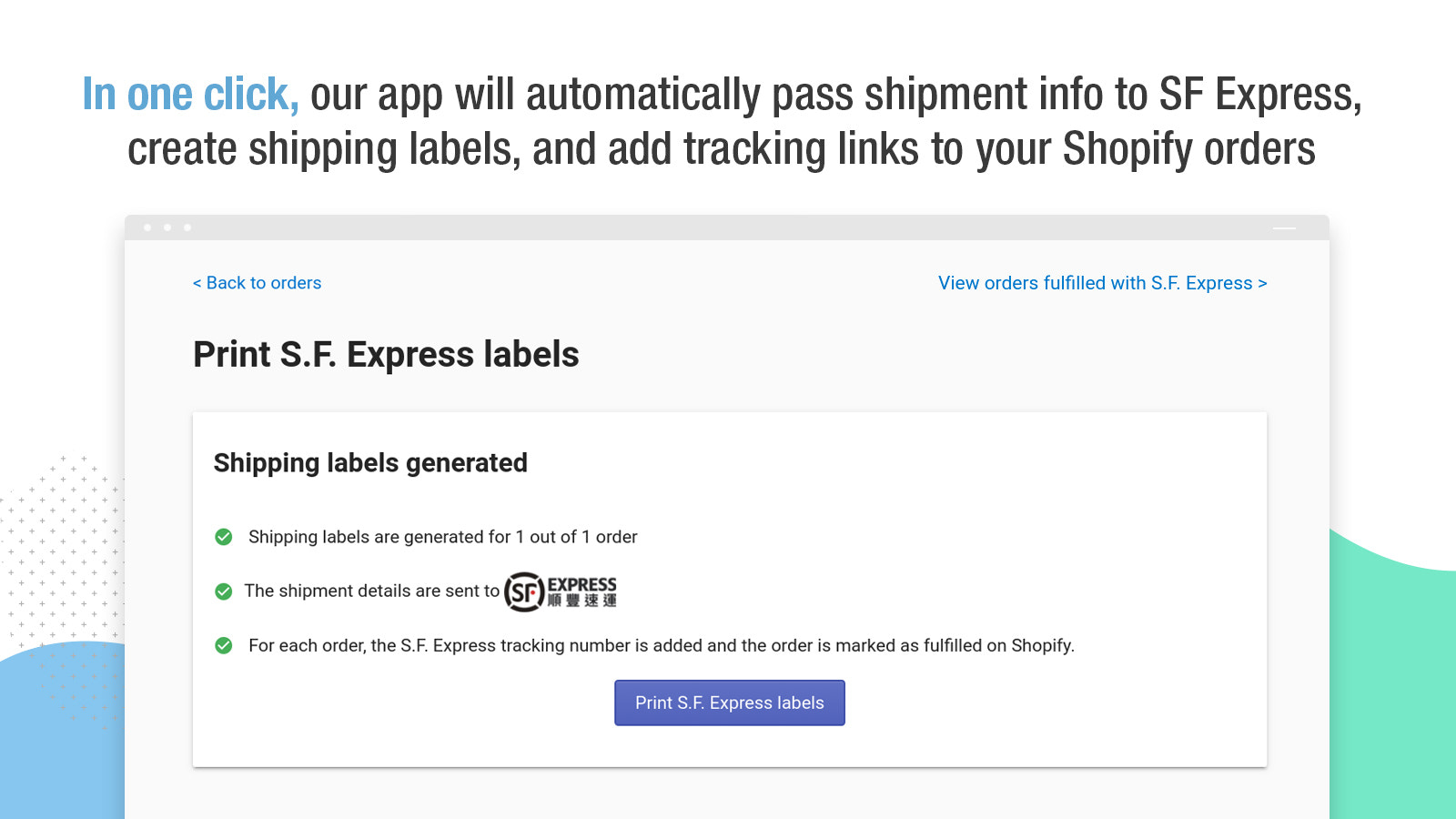 Create shipping labels and add tracking numbers in one click
