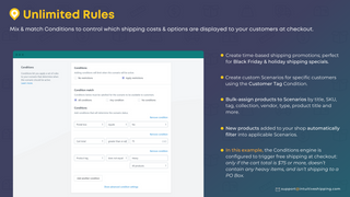 Choose from over 40 rules to control your shipping costs